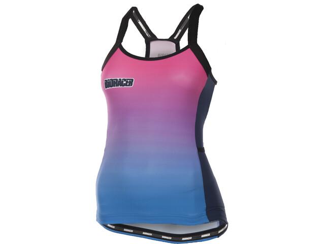 Bioracer Vesper Tan Mouwloof Fietsshirt Dames roze/blauw